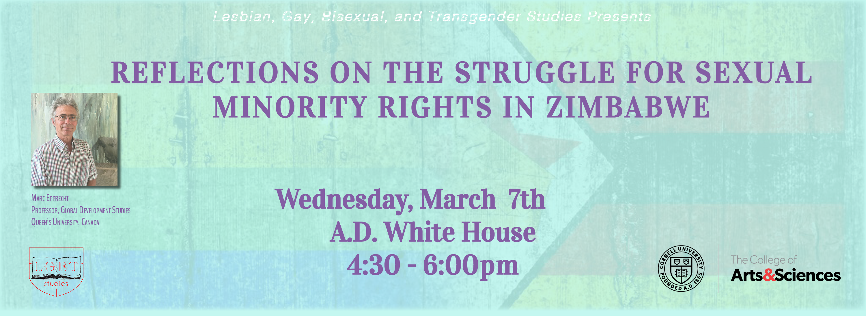 Prof. Epprecht and talk title against a backdrop of the Zimbabwean flag and the LGBT flag